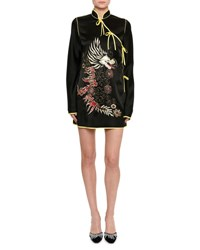 Attico Dragon Embroidered Satin Kimono Dress Black