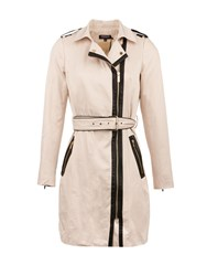 Morgan Cotton Piped Detail Trench Coat Beige