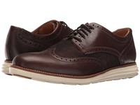 Cole Haan Original Grand Wing Oxford Chestnut Leather Brown Plaid Ivory Men's Lace Up Casual Shoes