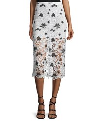 Alice Olivia Ophelia Lace Midi Skirt White Black