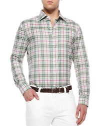 Isaia Windowpane Plaid Woven Shirt Green Magenta