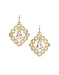 Carolee Spring Bouquet Scalloped Earrings Gold Pink