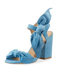 Bill Blass Cindy Knotted Suede Chunky Heel Sandals Blue