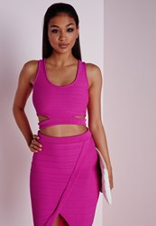 Missguided Bandage Cut Out Crop Top Hot Pink
