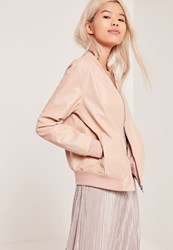 Missguided Faux Leather Bomber Jacket Nude