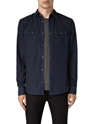 Allsaints Airlie Slim Denim Shirt Dark Indigo Blue Melange