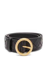 Bottega Veneta Intrecciato Leather Belt Black Gold