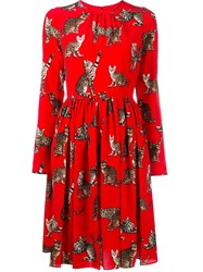 Dolce And Gabbana Bengal Cat Print Dress Red