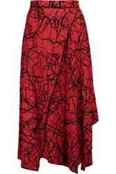 Proenza Schouler Flocked Wrap Effect Crepe Midi Skirt Red