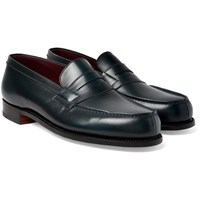 J.M. Weston Leather Penny Loafers Blue