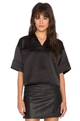 Alexander Wang Football Crop V Neck Tee Black