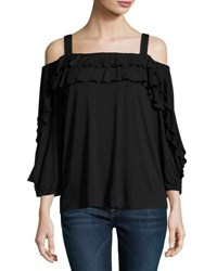 Neiman Marcus Off The Shoulder Jersey Top Black