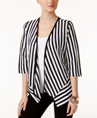 Alfani Petite Striped Open Front Cardigan Only At Macy's White Stripe