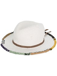Le Chapeau Embroidered Brim Hat White