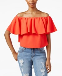 Rachel Rachel Roy Off The Shoulder Flutter Sleeve Crop Top Campari
