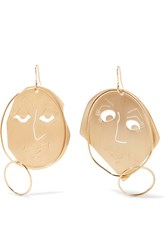 J.W.Anderson Moon Face Gold Plated Earrings One Size