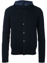 Zanone Layered Ribbed Cardigan Blue