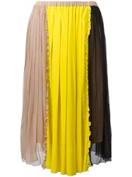 N 21 No21 Colour Block Pleated Skirt Nude Neutrals