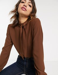 Esprit Pussybow Blouse In Chocolate Brown