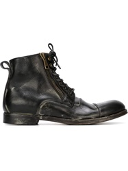 Dolce And Gabbana Distressed Lace Up Boots Black