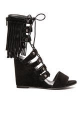 Free People Solstice Fringe Wedge Black