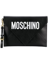 Moschino Leather Envelope Clutch Black