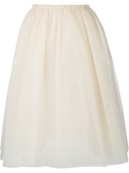 Golden Goose Deluxe Brand A Line Tulle Midi Skirt Nude And Neutrals