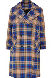 Rag And Bone Ace Oversized Plaid Woven Trench Coat Blue Gbp