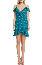 Willow And Clay Polka Dot Cold Shoulder Wrap Dress Teal