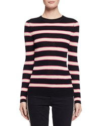 Etoile Isabel Marant Derring Striped Fitted Pullover Sweater Ecru Black