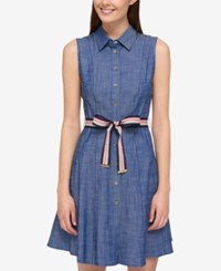 Tommy Hilfiger Cotton Belted Shirtdress Only At Macy's Indigo
