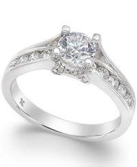 X3 Diamond Engagement Ring In 18K White Gold 1 Ct. T.W.