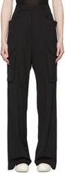 Rick Owens Black Tailored Cargo Trousers