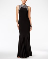 Betsy And Adam Embellished Mock Neck Gown Black
