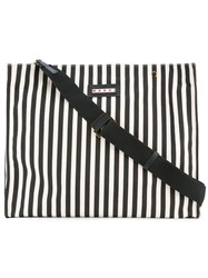 Marni Striped Oversized Tote Black