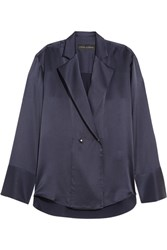 Michael Lo Sordo Double Breasted Silk Satin Blouse Midnight Blue