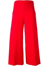 Msgm Wide Leg Cropped Trousers Red