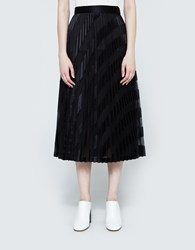 Off White Black Striped Plisse Skirt