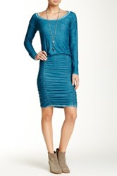 Go Couture Vintage Washed Sheared Sweater Dress Green