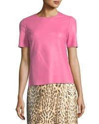 Adam By Adam Lippes Short Sleeve Leather Top Pink