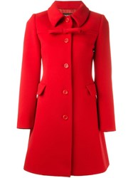 Boutique Moschino Front Bow Fitted Coat Red