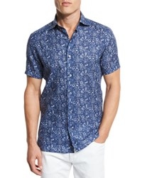 Ermenegildo Zegna Floral Short Sleeve Sport Shirt Dark Blue Dk Blu Fan