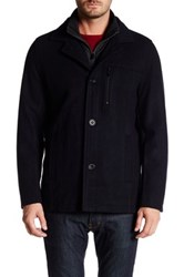 Kenneth Cole Stand Up Car Coat Blue