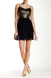 Jack Carrian Sequin Bodice Fit And Flare Dress Black
