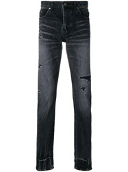 Saint Laurent Ripped Low Waisted Skinny Jeans Cotton Black