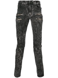 Faith Connexion Bleached Effect Zipped Skinny Jeans Black