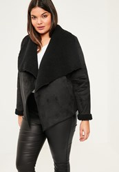 Missguided Plus Size Black Faux Shearling Waterfall Short Coat