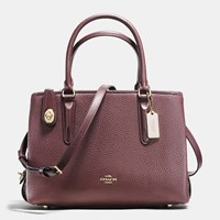 Coach Brookyln Carryall 28 In Pebble Leather Light Gold Oxblood