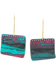Missoni Oversized Geometric Earrings Blue