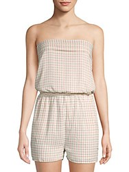 Collective Concepts Grid Print Strapless Romper Ivory Red